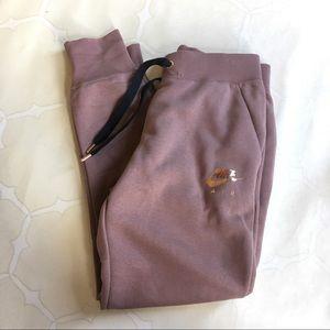 Nike Mauve Rose Gold Fleece Sweat Pants High Waist